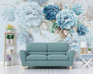 Beibehang Custom wallpaper Nordic fresh hand-painted peony flower garden living room TV background wall painting 3d wallpaper