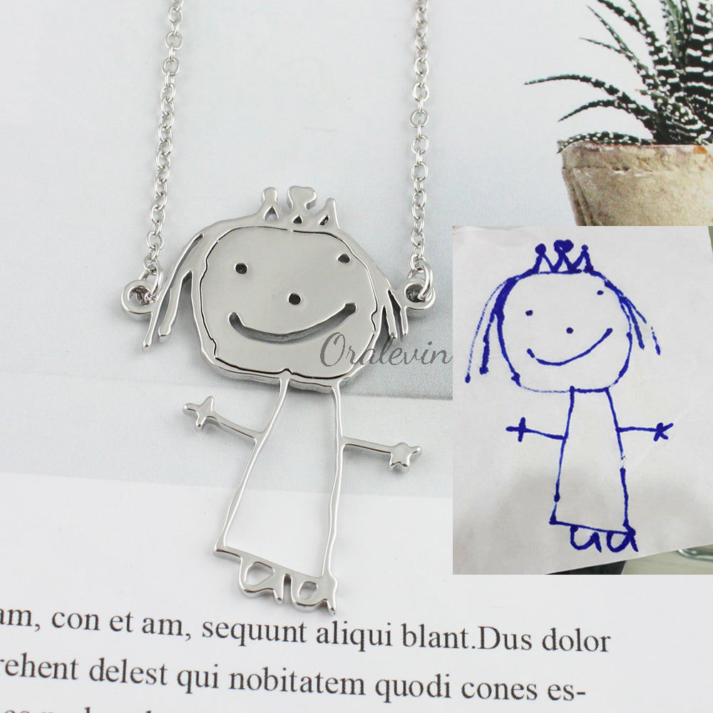 Customized Children's Drawing Necklace Kid's Art Child Artwork Personalized Necklace Custom Name Jewelry Christmas GIFT for Kids