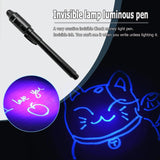 2 in 1 Luminous Light Invisible Ink Pen UV Check Money Kids Drawing Secret Learning Educational Magic Pens