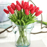 31PCS/LOT pu mini tulip flower real touch wedding flower bouquet artificial silk flowers for home party decoration