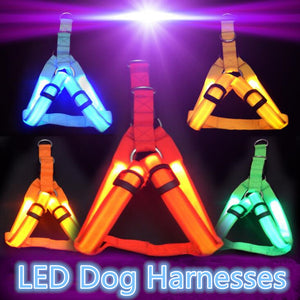Nylon Pet Safety LED Harness Dog Product Flashing Light Harness Dog Harness Leash Rope Belt