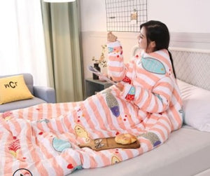 Winter Lazy Quilt with Sleeves Winter Quilt Home Bedding Comforter Printed Edredom Keep Warm Winter Duvet Blanket With Sleeves