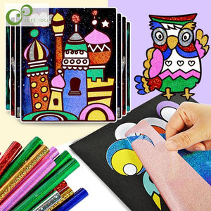 9pcs/Set Cute Cartoon DIY Magic Transfer Wticker Transfer Painting Crafts for Kids Arts And Crafts Toys for Children Gift GYH