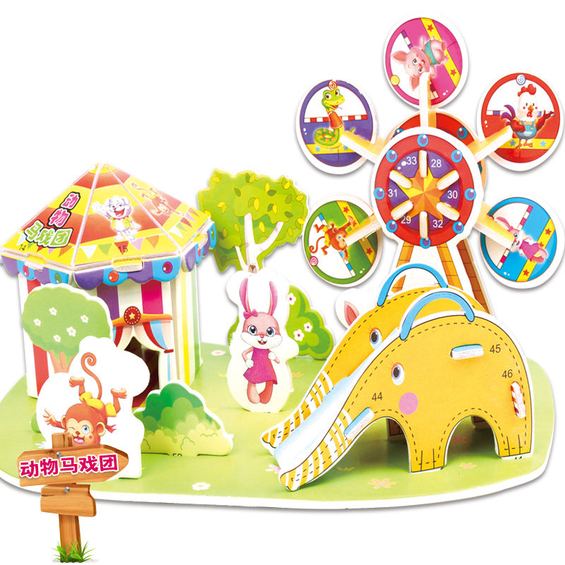 Kindergarten Cartoon Castle Garden House 3D Puzzle Jigsaw Educational Toys For Children Kids Craft Manualidades Diy Jouet Enfant