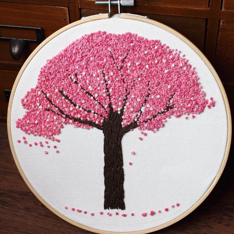DIY Embroidery Plants Cherry Tree Handwork Needlework for Beginner Cross Stitch kit Ribbon Painting Embroidery Hoop Home Decor