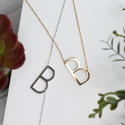 Large Initial Necklace in Gold