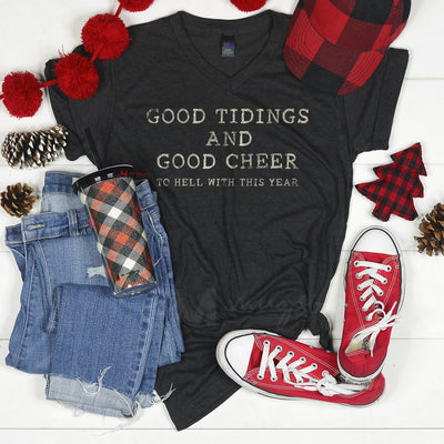 Good Tidings and Good Cheer Shirt -Heather Charcoal
