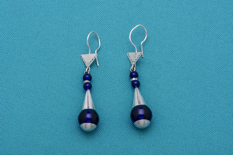 Blue & Silver Tuareg Teardrop Earrings