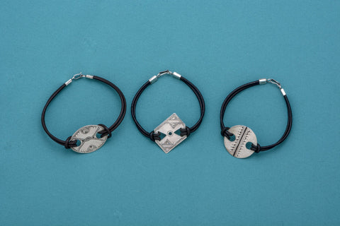 Tuareg Silver & Leather Band Bracelets