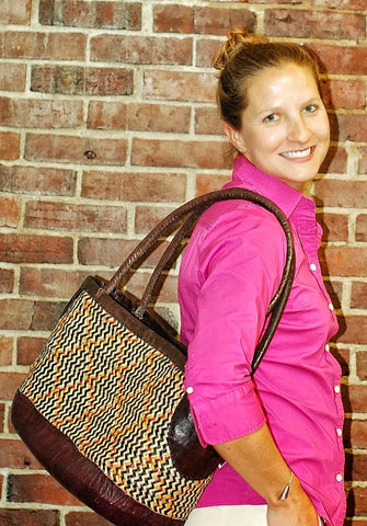 Straw & Leather Tote Bag in Brown & Ochre