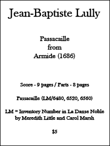 Lully - Passacaille from Armide • Digital Download