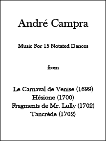 André Campra - Music for 15 Notated Dances • Digital Download