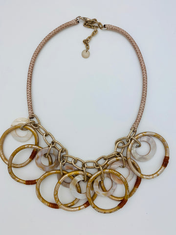 Multi Shell and Wrapped Circle Necklace