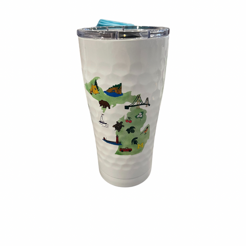 Michigan Embloms Golf White 20 Oz Insulated Tumbler