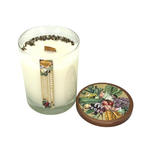 Farmer's Market 16 oz Highball Glass Candle With Wooden Wick