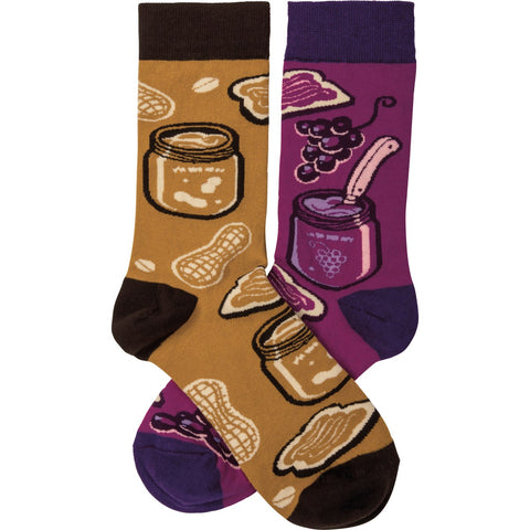 Peanut Butter and Jelly Mismatched Socks