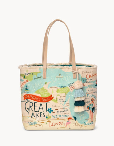 Large Embroidered Great Lakes Tote