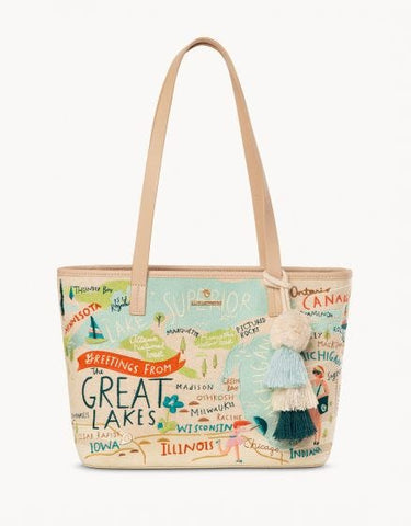 Small Great Lakes Embroidered Tote