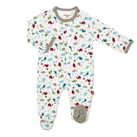 Dino Organic Cotton Magnetic Coverall