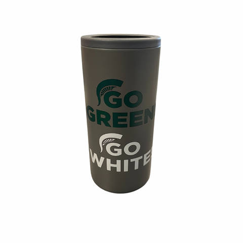 Go Green, Go White Gray Skinny Can Cooler