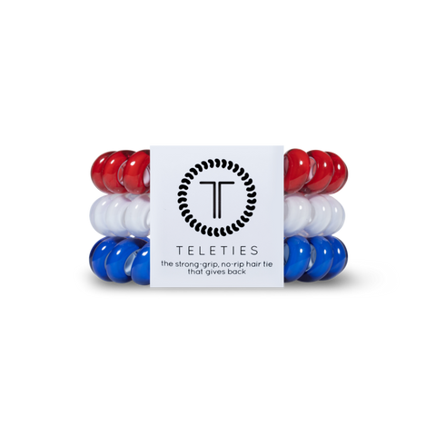 Red White and Blue Set of 3 Teleties Hair Ties