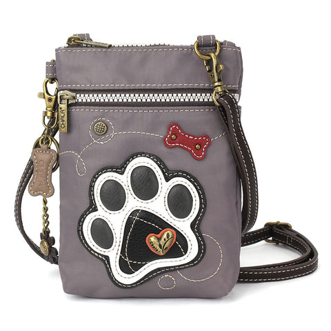Gray Paw Print Nylon Cellphone Crossbody Purse