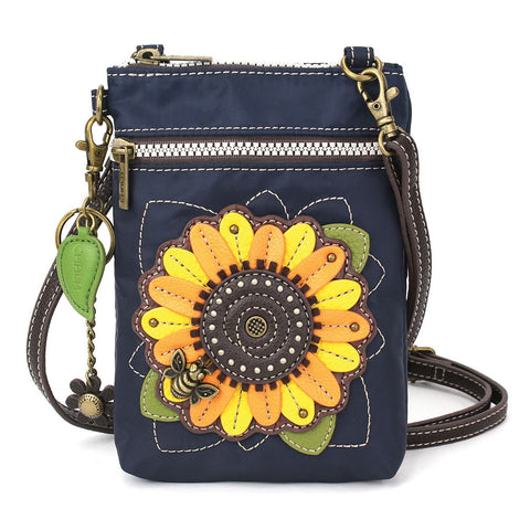 Navy Sunflower Nylon Cellphone Crossbody Purse