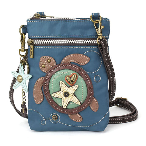 Blue Turtle Nylon Cellphone Crossbody Purse