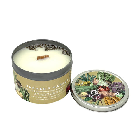 Farmer's Market 16 oz Tin Candle With Wooden Wick