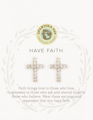 Have Faith Cross Stud Earrings