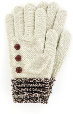 Oatmeal Button Glove