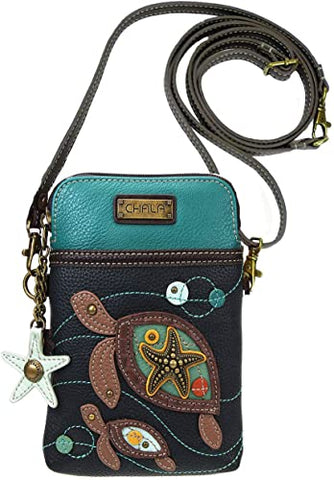 Navy Turtles Cell Phone Crossbody Purse