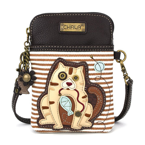 Striped Tabby Cat Cellphone Crossbody Purse