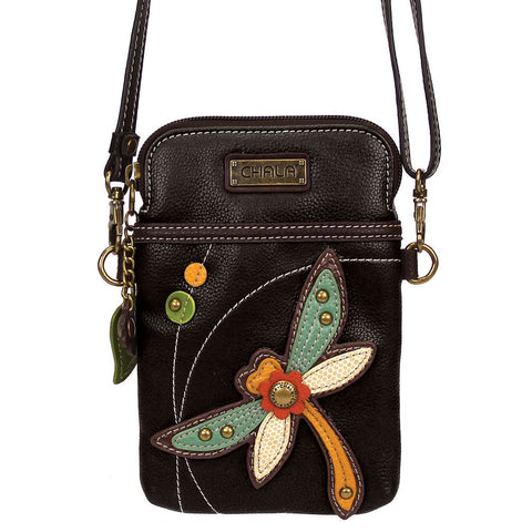 Black Dragonfly Cellphone Crossbody Purse