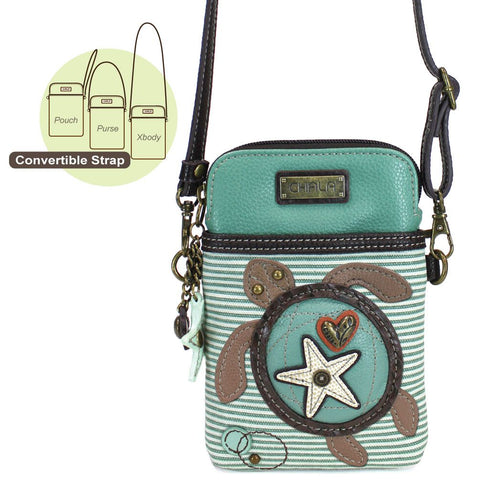 Teal Stripe Turtle Cellphone Crossbody Purse