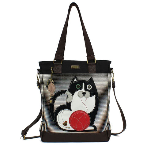 Tuxedo Cat Stripe Zip Work Tote