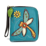 Blue Dragonfly Zip Around Wallet