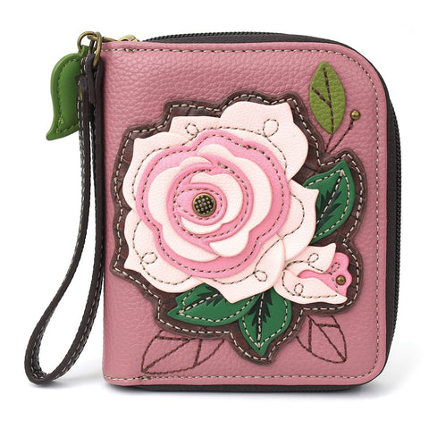 Pink Rose Zip Around Wallet