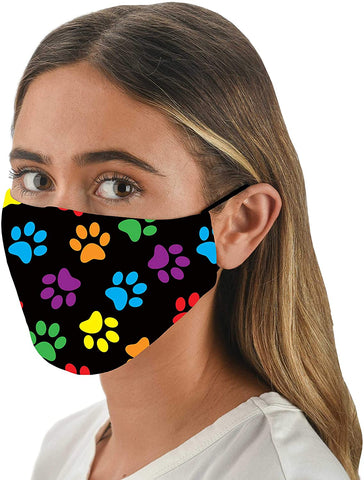 Multi Paw Print Adjustable Face Mask With Filter