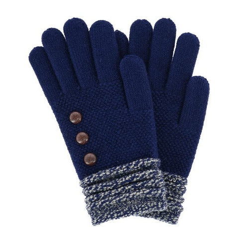 Navy Button Glove