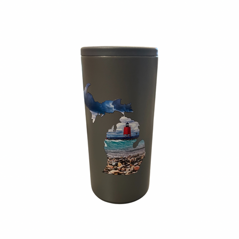Charlevoix Lighthouse Gray Skinny Can Cooler