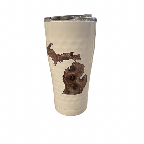 Petoskey Stones Golf White 20 Oz Insulated Tumbler