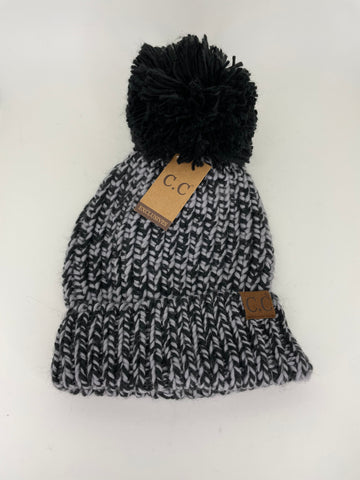 Heathered Black Pom Winter Beanie