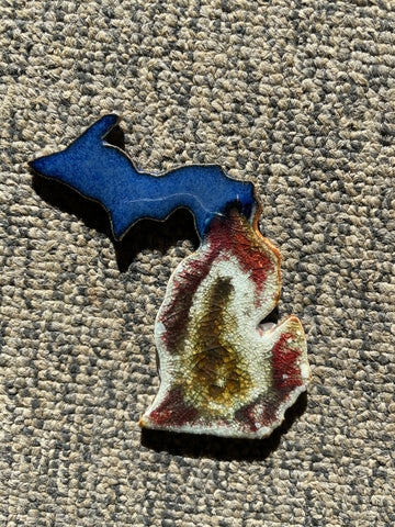 Cobalt and Copper Michigan Crackle Geode Pottery Magnet