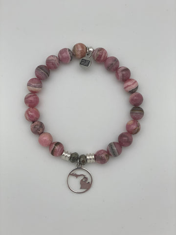 Rhodochrostie Stone Bracelet with Northern Michigan Sterling Silver Charm