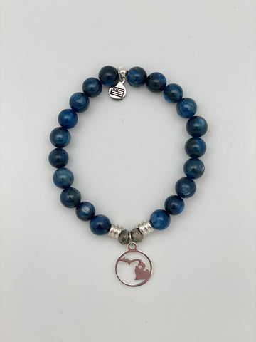 Kyanite Stone Bracelet with Northern Michigan Sterling Silver Charm