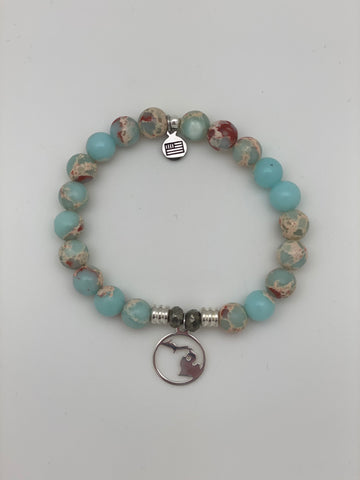 Desert Jasper Stone Bracelet with Northern Michigan Sterling Silver Charm