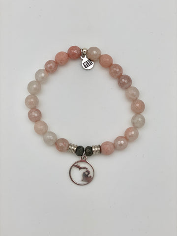 Sunstone Stone Bracelet with Northern Michigan Sterling Silver Charm