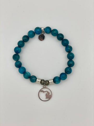 Arctic Apatite Stone Bracelet with Northern Michigan Sterling Silver Charm