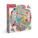 Blue and Yellow Bird Round 500 Piece Puzzle